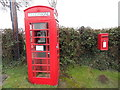 SO3316 : K6 Telephone Box and Post Box at Llanddewi Skirrid by David Hillas