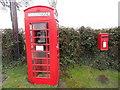 SO3316 : K6 Telephone Box and Post Box at Llanddewi Skirrid by David Hillas
