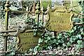 J3282 : Cast grave markers, Carnmoney CoI graveyard, Newtownabbey (February 2017) by Albert Bridge