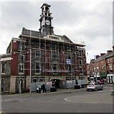 SS8591 : Scaffolding on Maesteg Town Hall and Market by Jaggery