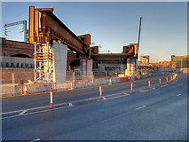 SJ8298 : Ordsall Chord, Construction of New Bridge over Trinity Way (Dec 2016) by David Dixon