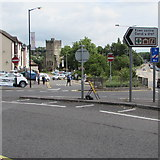 ST5393 : This way to Chepstow town centre except for HGVs by Jaggery