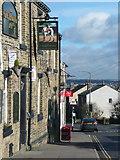 SE1321 : The Greyhound inn sign, Crowtrees Lane, Rastrick by Humphrey Bolton