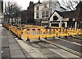 SJ8446 : Newcastle-under-Lyme: roadworks in Red Lion Square by Jonathan Hutchins