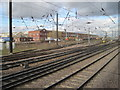 SE5702 : View from a Doncaster-Peterborough train - south of Doncaster station by Nigel Thompson