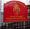 SO5140 : St Thomas Cantilupe school name board, Hereford by Jaggery