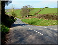 SO4614 : B4233 descends towards Hendre, Monmouthshire by Jaggery