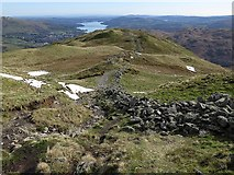 NY3507 : Ruined wall at Lord Crag by Andrew Curtis