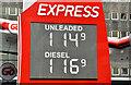 J3373 : Fuel prices sign, Belfast (1 April 2017) by Albert Bridge