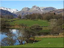 NY3404 : Loughrigg Tarn and Langdale Pikes by Andrew Curtis