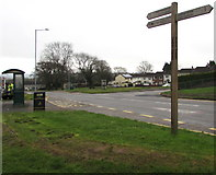 ST2896 : Wooden signpost near Maendy Square, Cwmbran by Jaggery