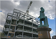 SK5804 : Statue of John Biggs at Welford Place by Mat Fascione