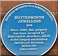 SD8913 : Blue plaque: Butterworth Jewellers by Gerald England
