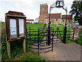 ST2939 : Kissing gate and church noticeboard, Chilton Trinity by Jaggery