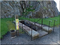 NS3974 : Dumbarton Castle: steps to the well-house by Lairich Rig