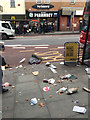 TQ3276 : Litter on the west side of Denmark Hill, Camberwell, south London by Robin Stott