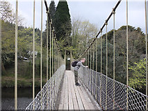 SH7956 : Suspension Bridge over Afon Conwy, Betws y coed by Gary Rogers