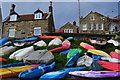 NZ8016 : Dinghies and cottages, Runswick Bay by David Martin