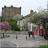 NZ2742 : Durham: the Castle and a corner of Palace Green by John Sutton