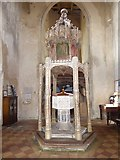 TG2834 : St Botolph, Trunch: font canopy (1) by Basher Eyre