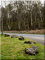 NN0777 : Boulders at edge of access road by Trevor Littlewood