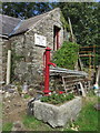 SH4384 : Old water pump and trough at Llwydiarth Esgob Farm, Llanerchymedd by John S Turner