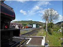 SN4124 : A view from the end of the platform at Bronwydd Arms by John Lucas