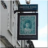 TL4658 : The Alexandra Arms pub sign by Richard Sutcliffe