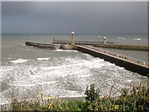 NZ8911 : Whitby  harbour  piers  the  weather  starting  to  deteriorate by Martin Dawes