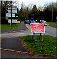 ST3091 : Red temporary sign near the northern end of Malpas Road, Newport by Jaggery