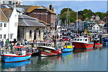 SY6778 : Fishing boats from the Town Bridge, Weymouth by David Martin