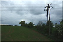 TM1440 : Crop field and power lines near Thorington Hall by JThomas