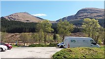 NN2327 : Forestry Commission car park in Glen Lochy by Stephen Sweeney