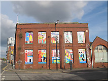 SE2932 : Artwork in window openings, Bath Road, Leeds by Stephen Craven
