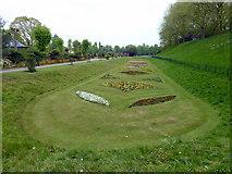 TL9925 : Flower Beds in Castle Park, Colchester by PAUL FARMER