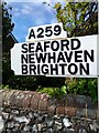 TV5597 : Direction Sign on A259 at East Dean by PAUL FARMER