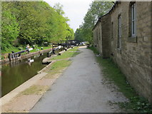 SD9926 : Rochdale Canal, Tow Path and Lock near Mayroyd Mill by Peter Wood
