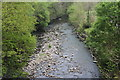 ST1598 : Rhymney River below footbridge, Bargoed Woodland Park by M J Roscoe
