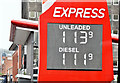 J3373 : Fuel prices sign, Belfast (12 May 2017) by Albert Bridge