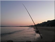 SZ1090 : Bournemouth: fishing rod at groyne 18 by Chris Downer