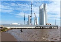 TA1128 : Wind turbine sections at the Alexandra Dock by Mat Fascione