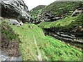 NO1905 : Path to waterfall at head of Glenvale, Lomond Hills by Bill Kasman