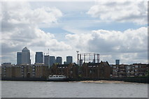 """TQ3580 : View of Canary Wharf from the top deck of a City Cruises vessel """"Millennium Time"""" #2 by Robert Lamb"""