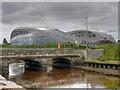 O1833 : River Dodder, Bridge at Bath Avenue and Aviva Stadium by David Dixon