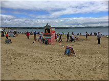SY6879 : Punch and Judy Stand on Weymouth Beach by David Dixon