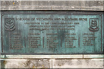 SY6778 : Bronze Plaque on Weymouth Town Bridge (SE) by David Dixon