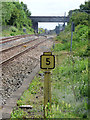 NZ2722 : Mile post at Heighington railway station by Thomas Nugent