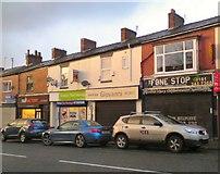 SJ9499 : Shops on Penny Meadow by Gerald England