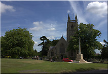 TL2702 : Northaw Green with the church and war memorial by Robert Eva