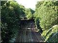 SK3448 : Footbridge over the railway near Pingle Lane by Alan Murray-Rust